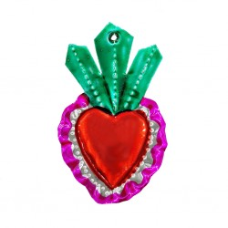Green Flaming sacred heart