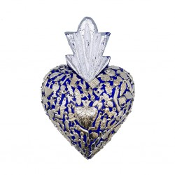 Coeur avec milagros Bleu