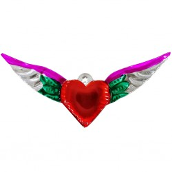 Green Sacred heart with large wings