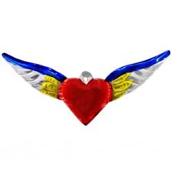 Yellow Sacred heart with large wings