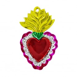 Yellow Tin flaming sacred heart