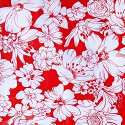 Red Flores oilcloth