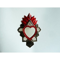 Coeur sacré à miroir Aztèque