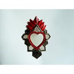 Sagrado corazón con espejo Azteca