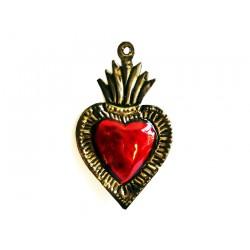 Coeur sacré avec flamme rose et bord vert