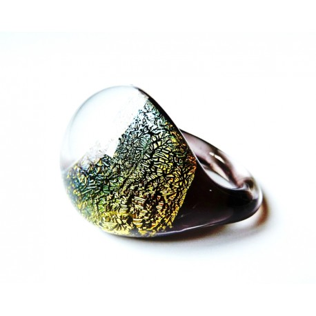Domed dichroic glass ring - Gold