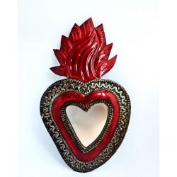 Sagrado corazón con espejo Llama grande