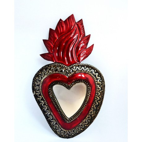 Sacred heart with mirror Large flame