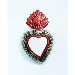Sagrado corazón con borde de encaje y espejo