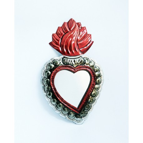 Coeur sacré avec bordure dentelle et miroir