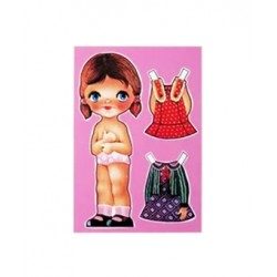 Dressed up doll postcard - Green