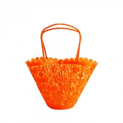 Small retro basket orange - Vintage flower bag for girl - Casa Frida