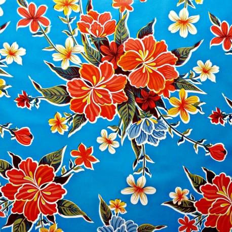 Blue Hibisco oilcloth